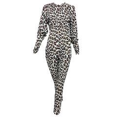 Vintage Norma Kamali leopard print cat suit 1980s