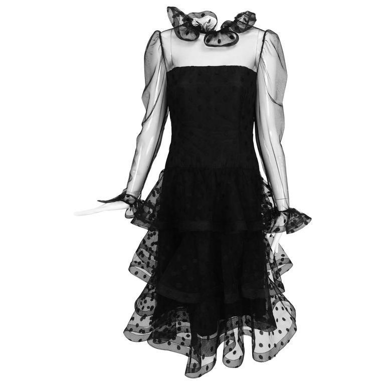 Vintage Arnold Scaasi black point d'esprit & tulle tired ruffle cocktail dress  1