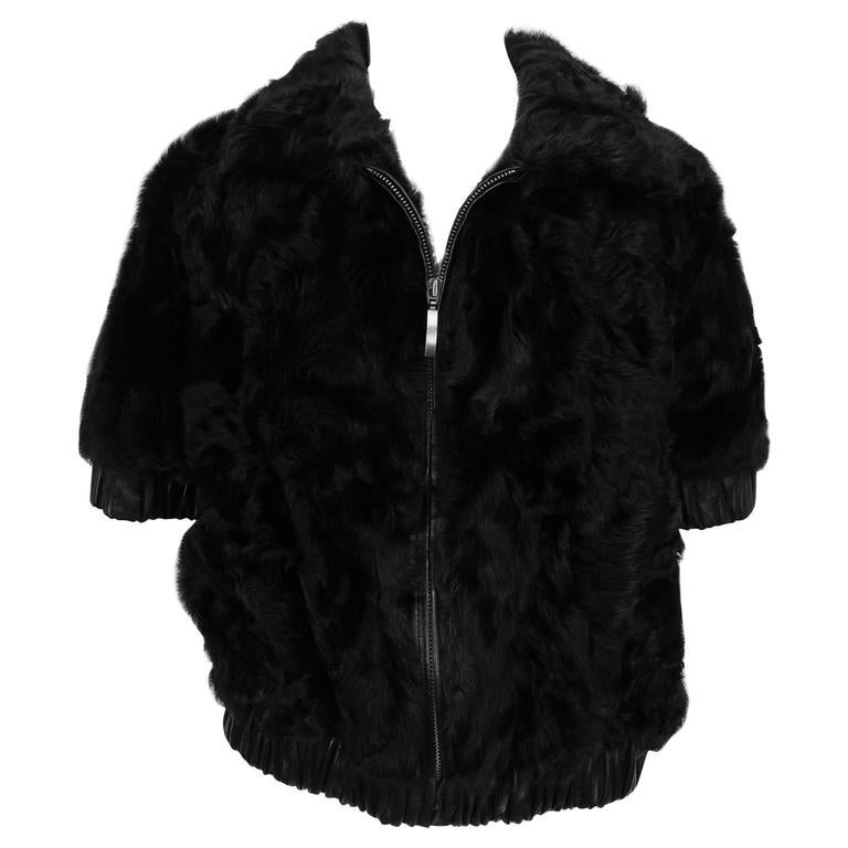 Black goat fur leather trimmed zip front gillet/vest never worn X-large