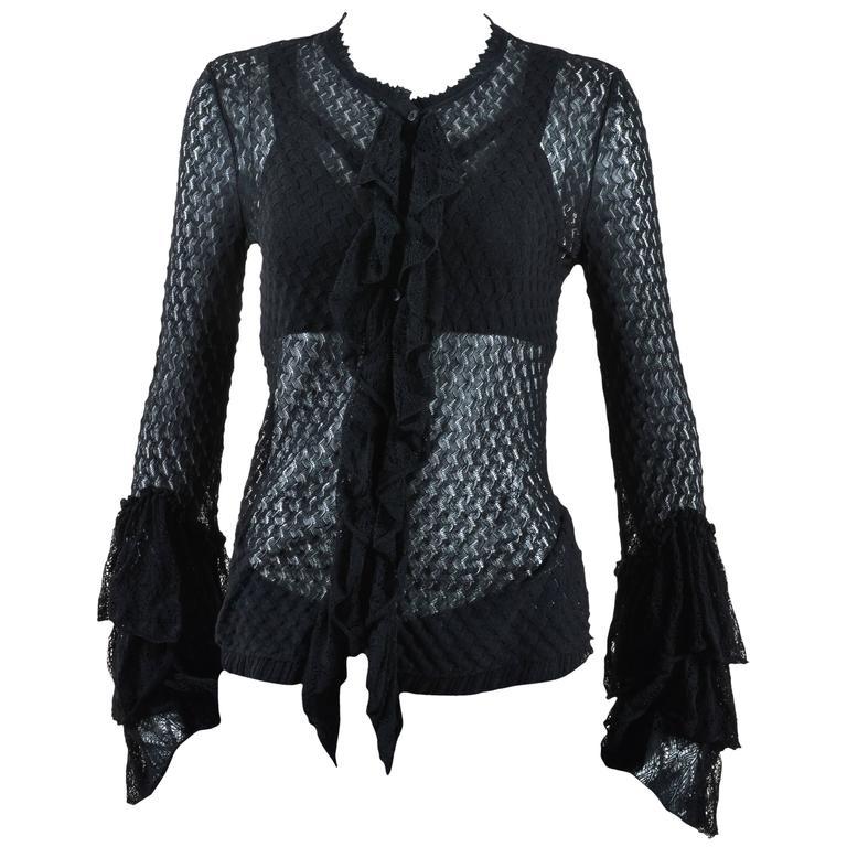 Alexander McQueen Black Semi Sheer Loose Knit Layered Ruffle LS Cardigan SZ M 1