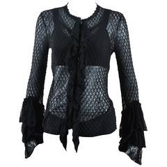 Alexander McQueen Black Semi Sheer Loose Knit Layered Ruffle LS Cardigan SZ M