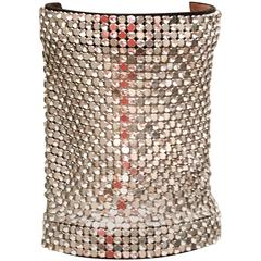Giuseppe Zanotti Mesh Metal, Rhinestone and Leather Cuff