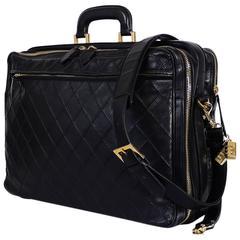 Vintage Chanel Black Lamb Travel Suite Case Luggage Duffel Bag Rare