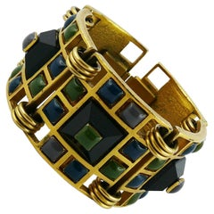 Jean Paul Gaultier Vintage Rare Geometric enameled Cuff Bracelet