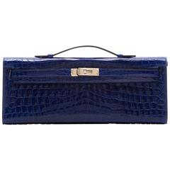 Hermes Electric Blue Niloticus Crocodile Kelly Cut Clutch