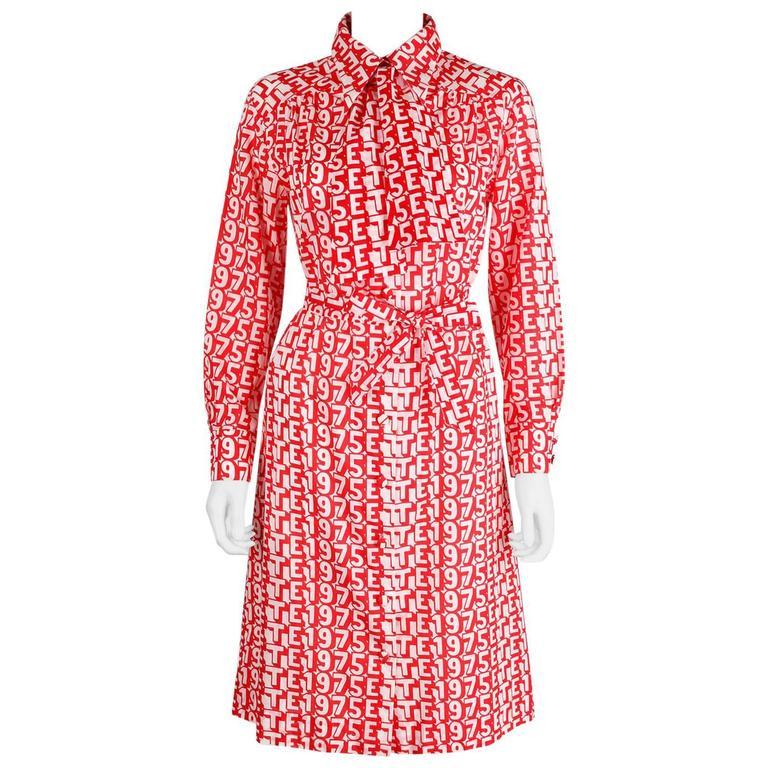 "LANVIN S/S 1975 ""ETE 1975"" Red White Print Button Up Cotton Shirt Dress Size 14"