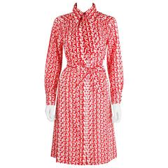 "LANVIN S/S 1975 ""ETE 1975"" Red White Print Button Up Cotton Shirt Dress Size 14"