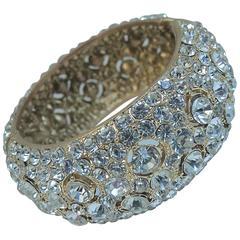 Vintage Glittering Crystal Clamper Bracelet