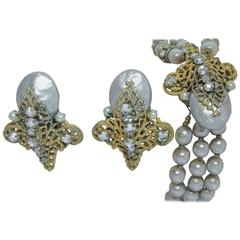 Miriam Haskell Vintage Three Strand Faux Pearl Bracelet and Earrings Set
