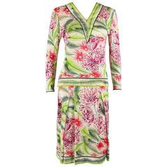 EMILIO PUCCI 1960s 2pc Multicolor Floral Fern Silk Blouse Skirt Dress Set Size 1