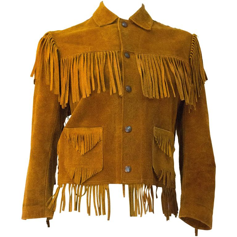 60s Small Suede Western Fringe Jacket  1