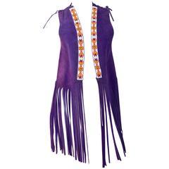 60s Purple Suede Fringe Vest with Beaded Fringe