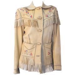 40s Western Beaded Leather Fringed Jacket
