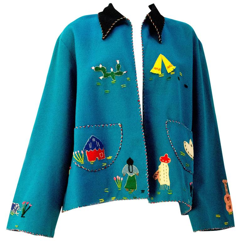40s / 50s Teal Mexican Embroidered Jacket  1