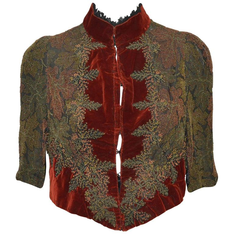 Victorian Sara Mayer A. Morhange & Cie 1880s Beaded Shawl From France For Sale