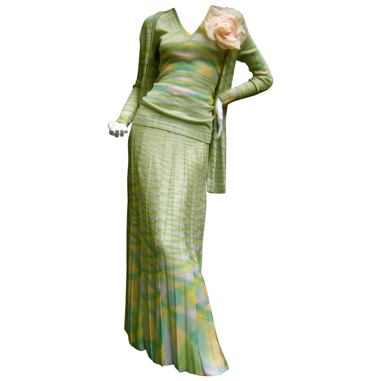 4538fe3c9315e Adolfo Saks Fifth Avenue Pastel Knit Ensemble c 1970s