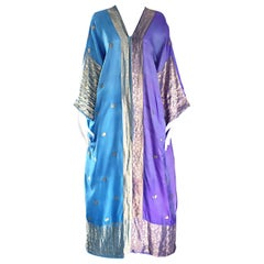 Amazing 1970s Purple, Blue and Gold Raw Silk Indian Inspired 70s Kaftan Dress