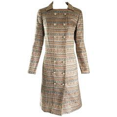 Beautiful 1960s Silk Brocade Amazing Rhinestone Back Mod 60s Couture Jacket Coat