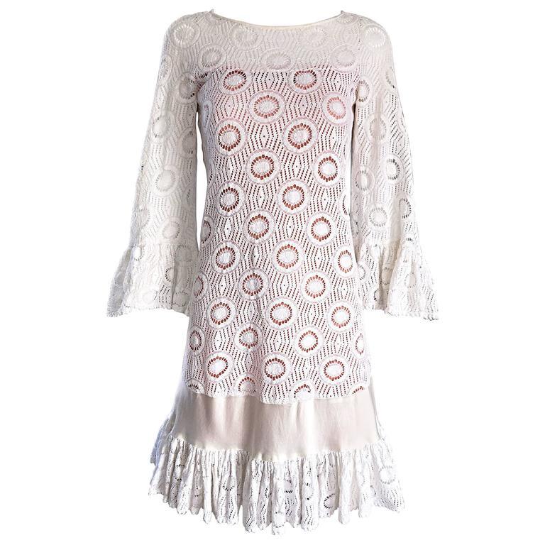Jay Morley for Fern Violette 1960s Ivory Crochet Boho Bell Sleeve A Line Dress