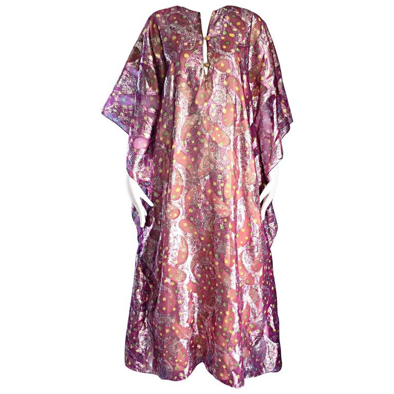 Georgie Keyloun Rare 1960s Vintage Chiffon Paisley Psychedelic 60s Caftan Dress For Sale