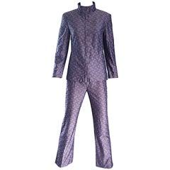 Vintage Nino Cerruti 1881 Indigo Sz 4 Blue Pajama Style 1990s 90s Logo Pant Suit
