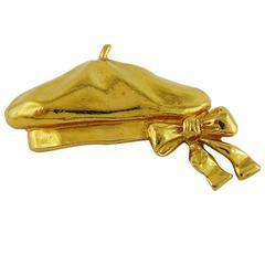 Chanel Vintage Gold Toned Beret Hat Brooch