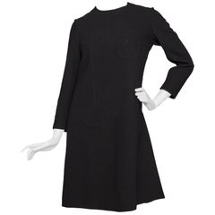 60s Pierre Cardin Vintage Space Age Black Wool Dress S