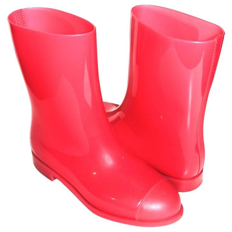 Chanel Rain Boots - Glossy Pink Rubber - FR 39 1