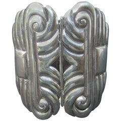Mexican Sterling Massive Hinged Artisan Cuff Bracelet c 1940s