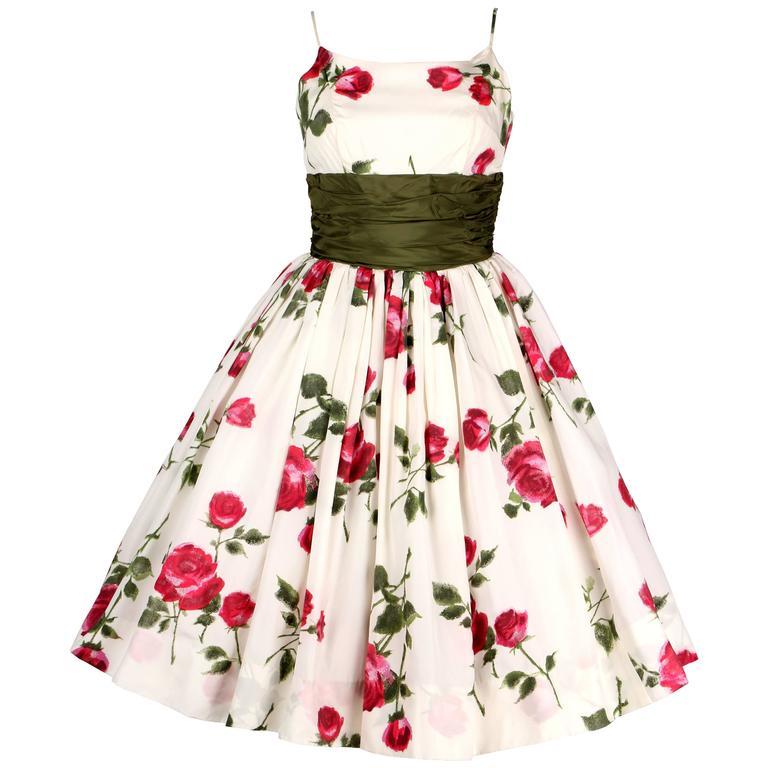 1950s Rose Garden White Floral Classic Green Taffeta Bow Tea Length Party Dress 1