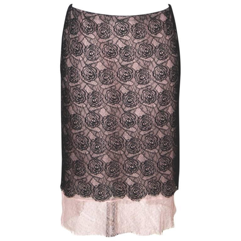 Chanel Pencil Skirt  - Blush Pink and Black Lace - FR 38 1