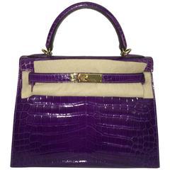 Hermes Kelly 28 Ultra-Violet Shiny Croc GHW