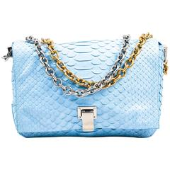 "Proenza Schouler Blue Python Two Tone Chain Shoulder Strap ""Small Courier"" Bag"