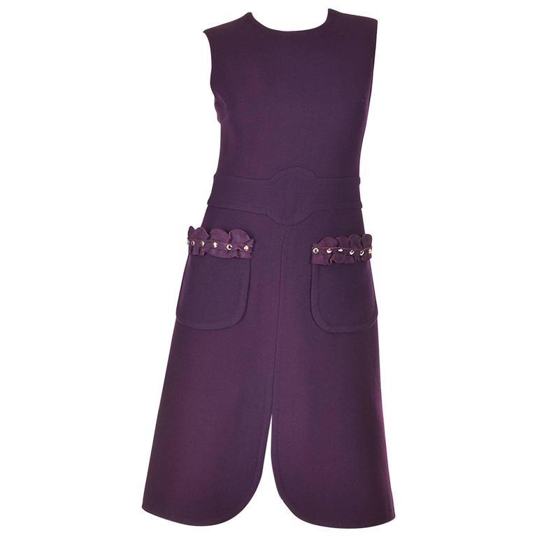 Rare1950s Pierre Cardin Wool Eggplant Purple Sheath Dress For Sale