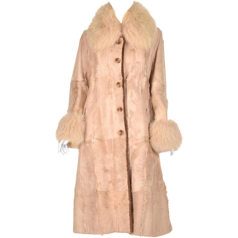 1960s Bisque Calf and Angora Rabbit Fur Coat