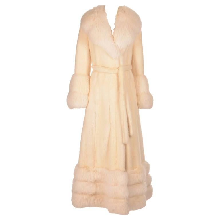 Vintage Snow White Mink and Angora Rabbit Fur Coat
