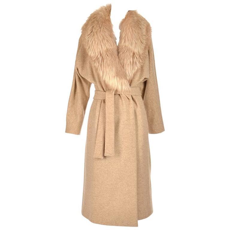 Bill Blass Camel Colored Wool and Fox Fur Coat, Late 1970s