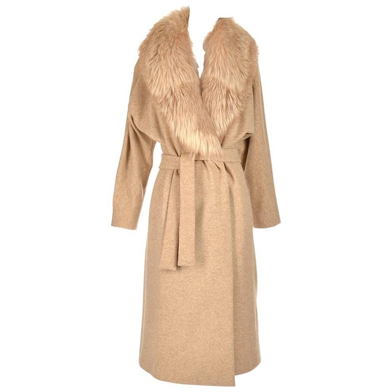 Bill Blass Camel Colored Wool and Fox Fur Coat, Late 1970s