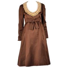 Sarmi Chocolate Satin and Gold Beaded Rhinestone Cocktail Dress, 1960s
