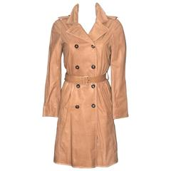 Prada Smooth Leather Beige Trench - XS - Pristine Condition