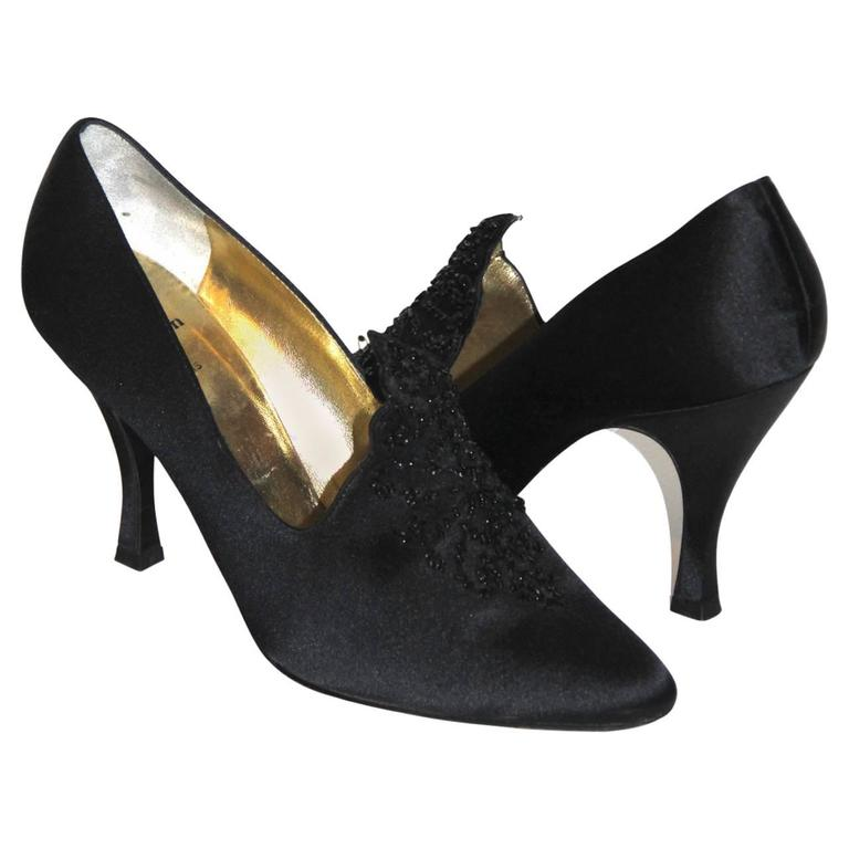 0bec954ae70 CHRISTIAN DIOR Black Embroidered Satin Evening Shoes For Sale at 1stdibs