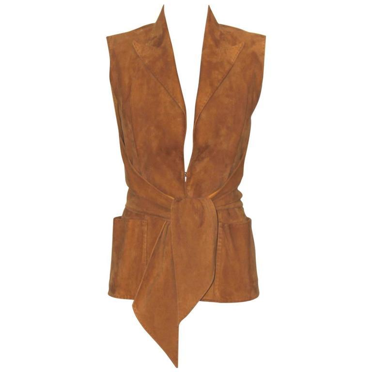 HERMES Camel Suede Wrap Design Vest  For Sale