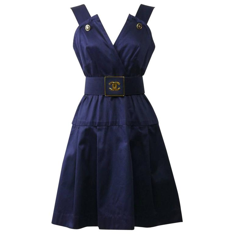 1990s CHANEL Blue Navy Cotton Dress For Sale