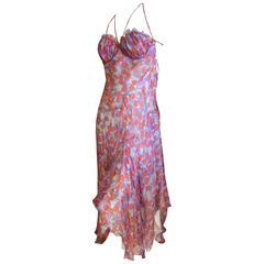 Alexander McQueen Cherry Print Backless Silk Dress