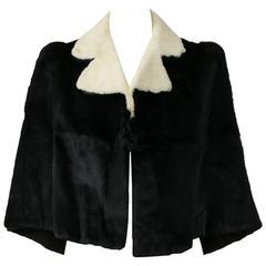 1940s Black and White Ermine Fur Cape