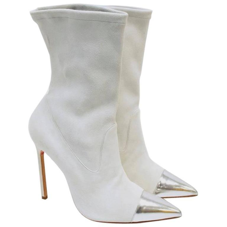 Manolo Blahnik Cream Pointed Sock Boots With Silver Toe For Sale