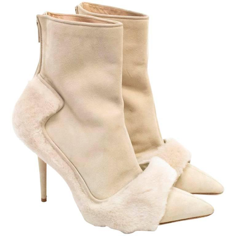 Manolo Blahnik Cream Pointed Boots With Shearling Fur And Suede 1