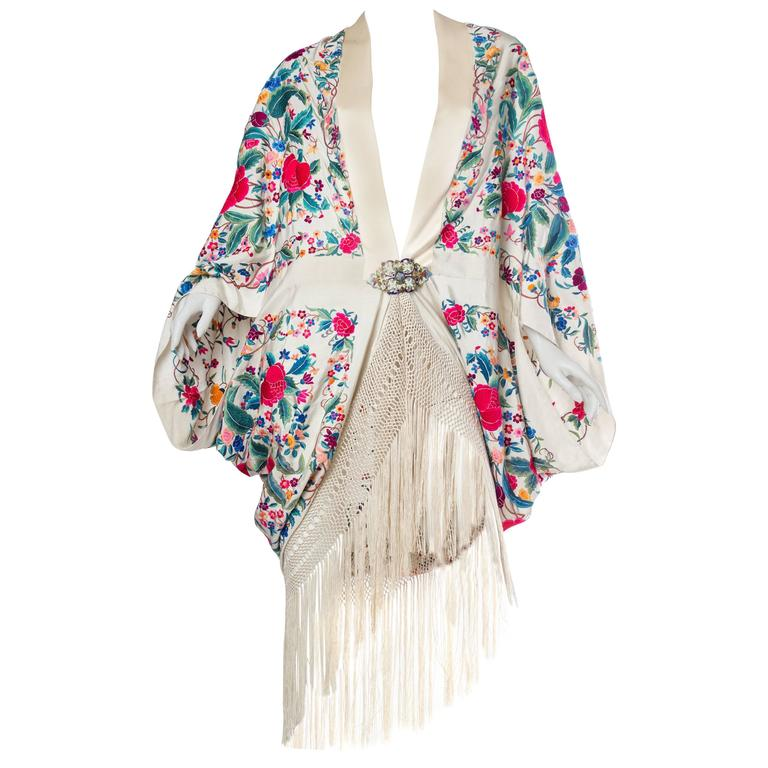 Cocoon Coat made from Antique Hand Embroidered Piano Shawl For Sale