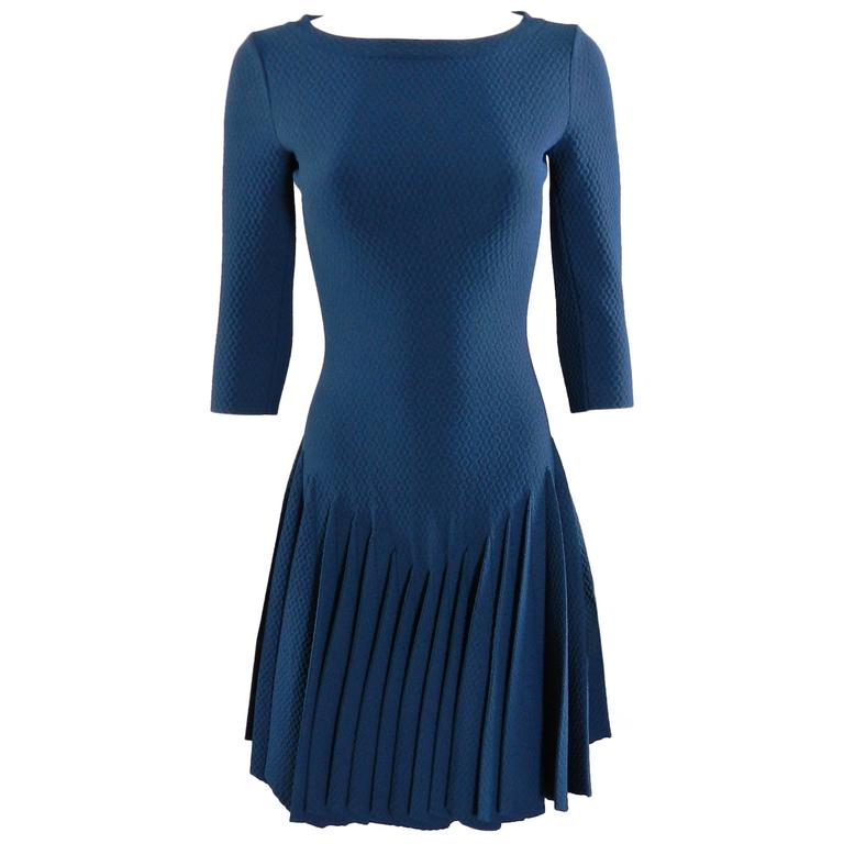 Alaia Prussian Blue Fit and Flare Knit Jersey Dress 1
