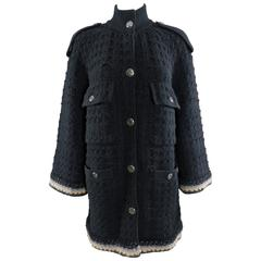 Chanel 13B Black Cashmere Chunky Knit Sweater Coat
